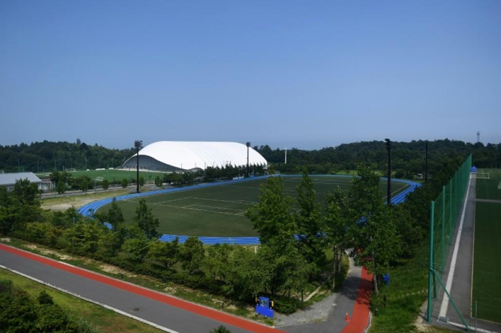 Le J-Village, point de départ de la flamme olympique à Naraha, près de Fukushima à l\'occasion des Jeux de Tokyo 2020, le 2 août 2019
