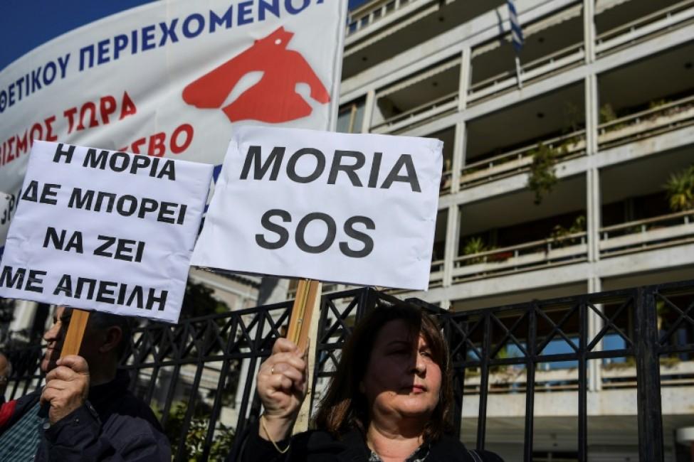 Manifestation contre la construction de nouveaux camps de réfugés dans les îles grecques, le 13 février 2020 à Athènes