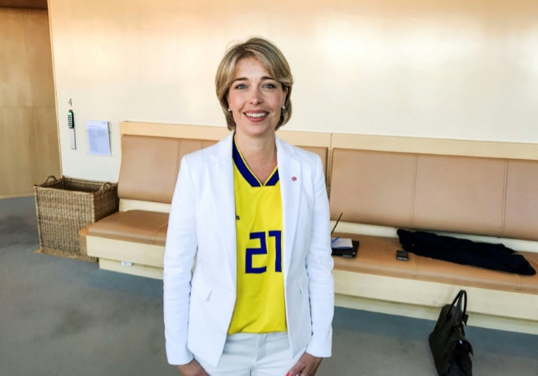 Sweden\'s Minister for Social Affairs Annika Strandhall wore a football jersey with Jimmy Durmaz\'s number