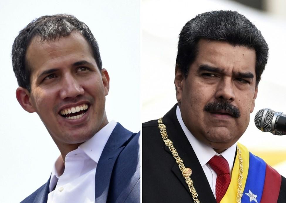 Photos de Juan Guaido et Nicolas Maduro, qui se disputent la présidence du Venezuela