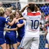 Chelsea\'s Erin Cuthbert (C) scored a stunning goal to keep Chelsea in their Women\'s Champions League with Lyon