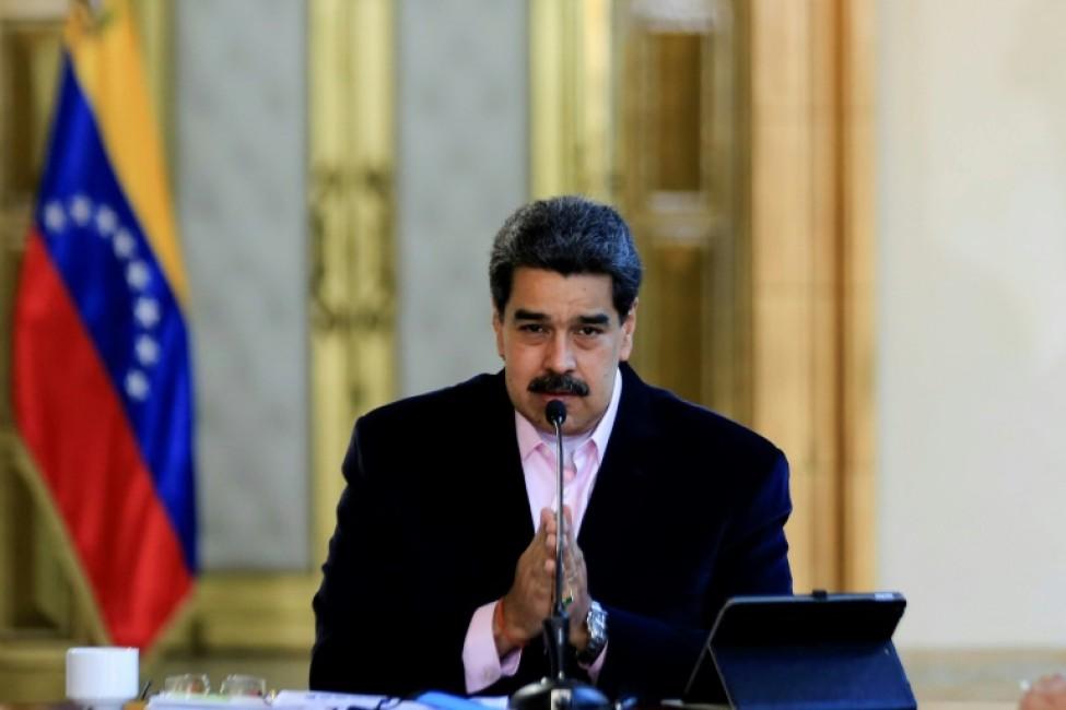 Le président vénézuélien Nicolas Maduro au palais de Miraflores, le 27 mars 2020 à Caracas