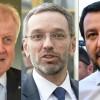 Les ministres de l\'Intérieur allemand Horst Seehofer, autrichien Herbert Kickl et italien Matteo Salvini.