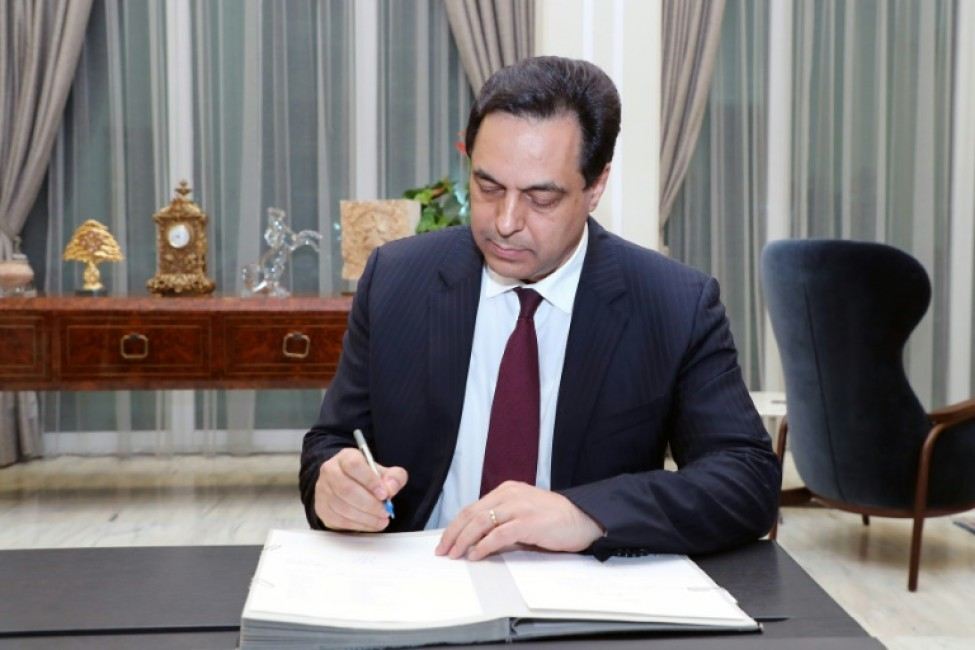 Photo fournie par l\'agence libanaise Dalati et Nohra montrant le Premier ministre Hassan Diab au palais présidentiel, le 21 janvier 2020