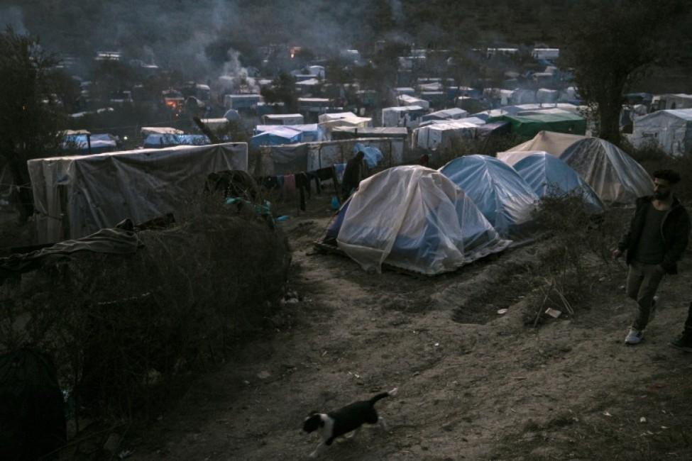 Un camp de migrants sur l\'île grecque de Lesbos, le 22 janvier 2020