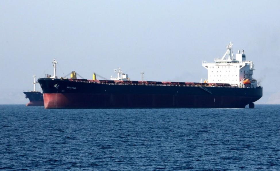 Dans cette photo prise le 30 avril 2019, un pétrolier est vu au large du port iranien de Bandar Abbas