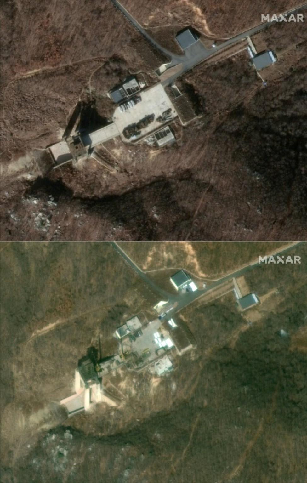 Des images satellites de DigitalGlobe (groupe Maxar) montrent la base de lancement de satellites nord-coréenne de Sohae les 5 décembre 2018 (en haut) et 2 mars 2019 (en bas)