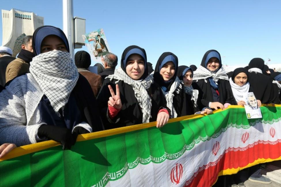 Des Iraniennes participent aux commémorations marquant le 41e anniversaire de l\'instauration de la République islamique, place Azadi à Téhéran le 11 Février 2020