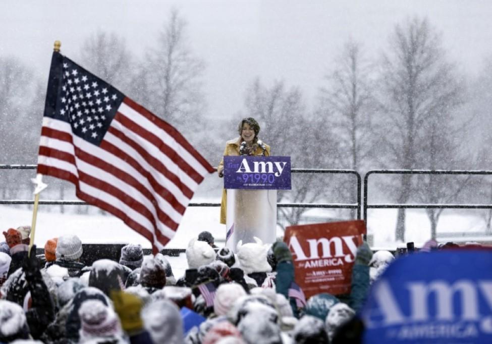 Amy Klobuchar annonce sa candidature à la présidentielle américaine, le 10 février 2019 à Minneapolis (Minnesota)