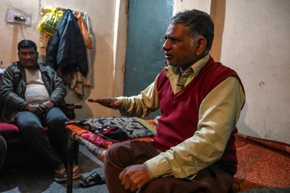 Pawan Kumar l\'homme qui s\'apprête à pendre 4 condamnés à mort, répond aux questions de l\'AFP chez lui à Meerut (Uttar Pradesh), le 23 janvier 2020