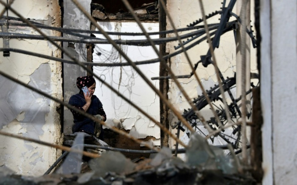 Un bâtiment détruit lors de violences interethniques à Massantchi, le 12 février 2020 au Kazakhstan