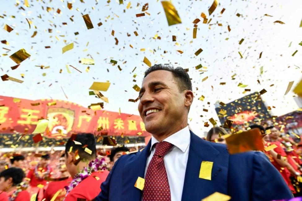 Fabio Cannavaro celebrates after sealing the Chinese Super League championship on Sunday
