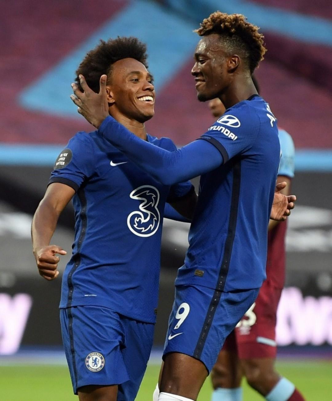 Willian (left) scored twice for Chelsea