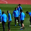 Carlos Tevez with his Boca Juniors teammates at a training session at the Spanish Football Federation (RFEF) headquarters in Las Rozas, Madrid