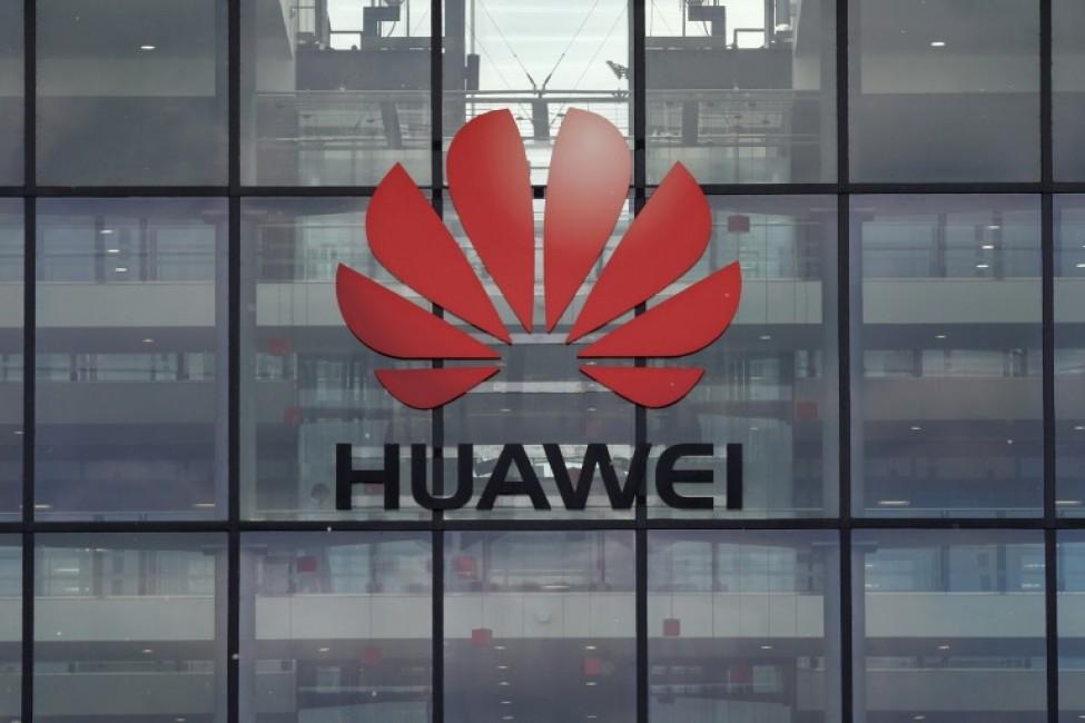 Le logo Huawei sur ses bureaux en Grande-Bretagne, à Reading, à l\'ouest de Londres