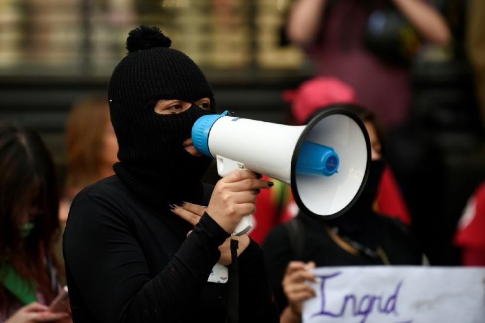 Manifestation devant le Palais des beaux arts à Mexico, contre les violences faites aux femmes, le 14 février 2020 Cityau
