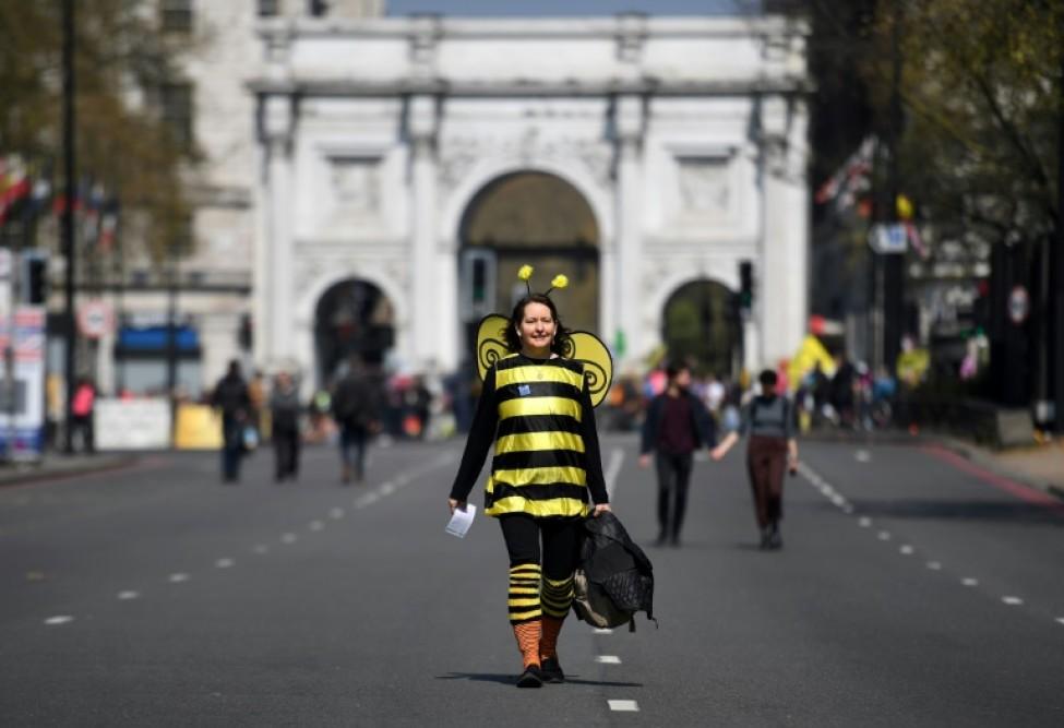 Activiste écologiste vêtue en abeille au premier jour de la campagne de protestation lancée par le mouvement Extinction Rebellion, le 15 avril 2019 à Londres, près de de Marble Arch.