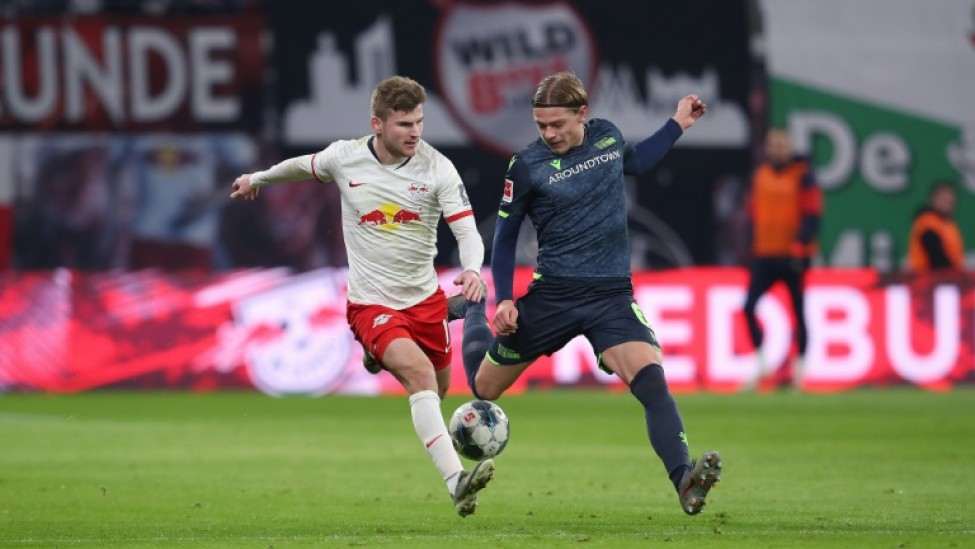 Leipzig striker Timo Werner (L) has 20 goals in 18 league games this term