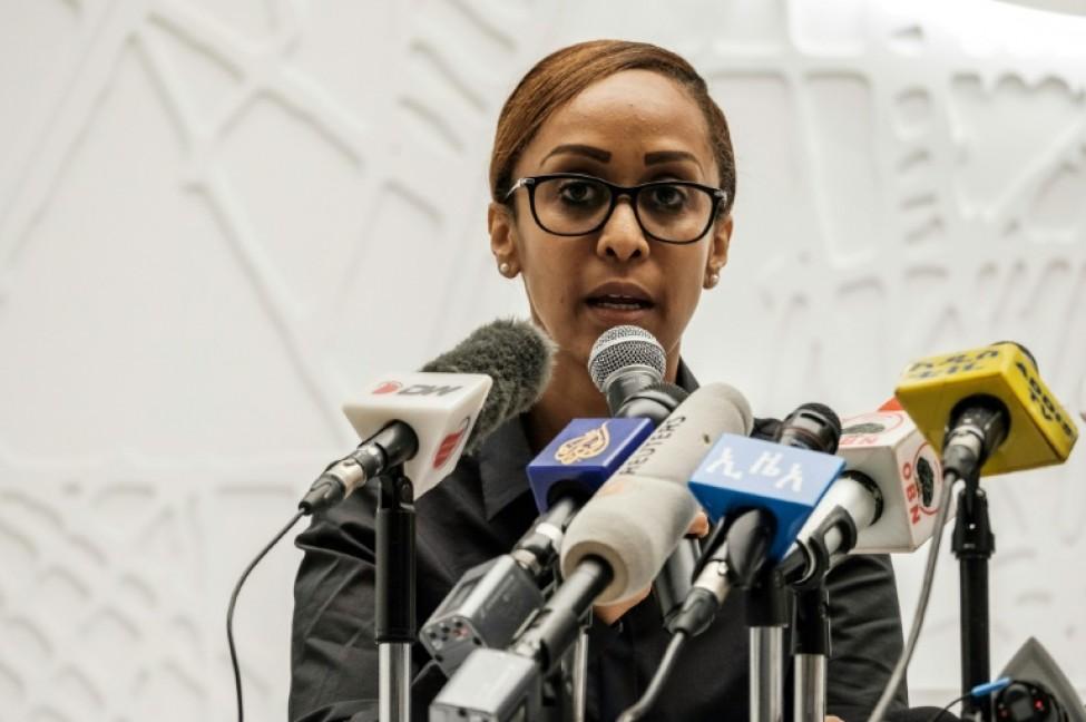La porte-parole du gouvernement éthiopien Billene Seyoum lors d\'une conférence de presse à Addis Abeba, le 13 23 2019, après une \