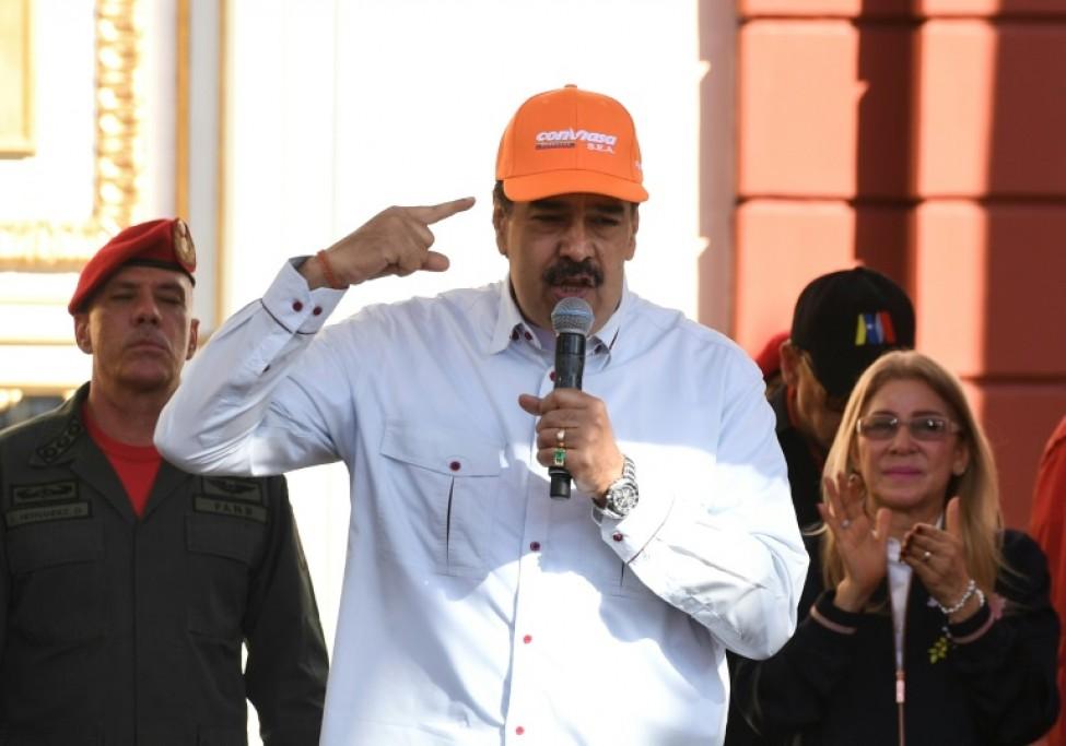 Le président vénézuélien Nicolas Maduro, avec une casquette de la compagnie aérienne d\'Etat vénézuélienne Conviasa, dans le palais présidentiel de Miraflores à Caracas, le 10 février 2020