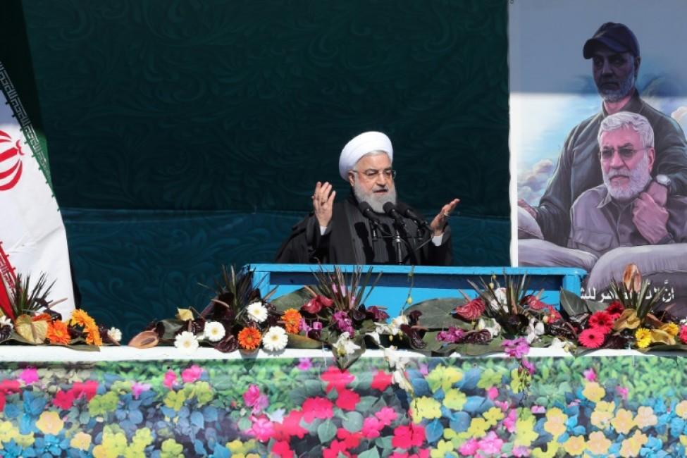 Le président iranien Hassan Rohani prononce un discours, place Azadi à Téhéran le 11 février 2020 pour marquer le 41e anniversaire de l\'instauration de la République islamique