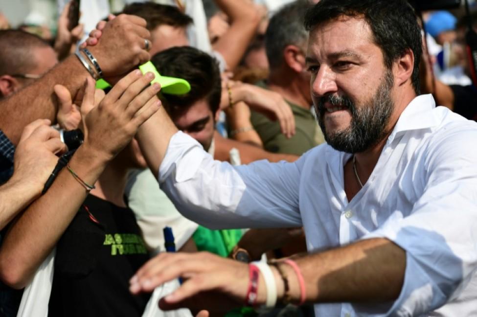 Matteo Salvini au milieu d\'une foule de partisans, le 15 septembre 2019, à Pontida, dans le nord de l\'Italie.