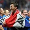 Mario Mandzukic celebrates Croatia\'s win against England in the World Cup semi-final in Moscow