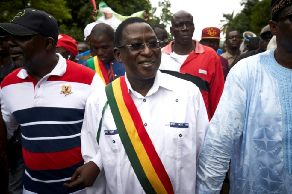 Le leader de l\'opposition au Mali, Soumaïla Cisse (C), lors d\'une manifestation le 18 août 2018 à Bamako
