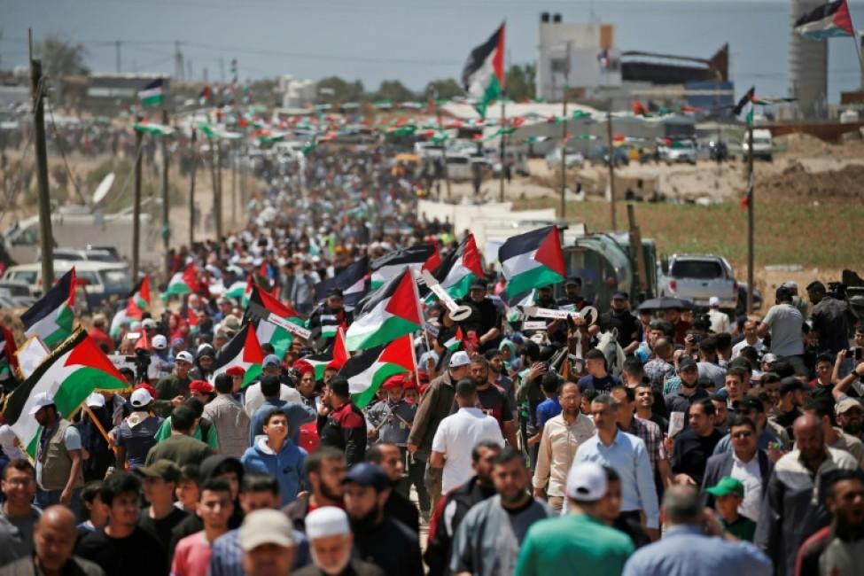 Des Palestiniens commémorent le 15 mai 2019 à l\'est de la ville de Gaza la Nakba, la \