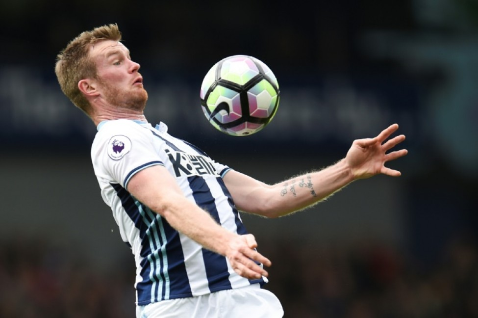 The Baggies\' hope of an immediate return to the top-flight were dented when captain Chris Brunt (pictured May 2017) was sent-off 10 minutes from the end of normal time