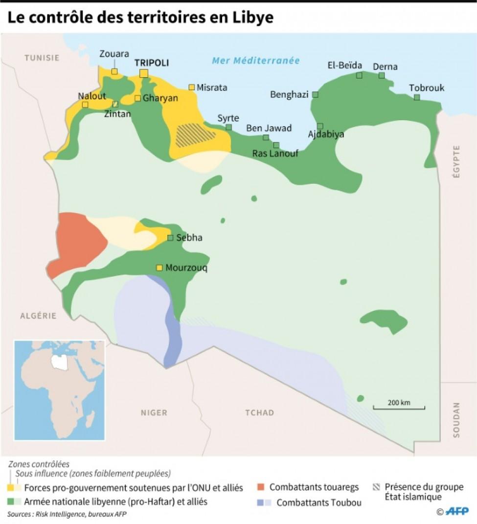 Le contrôle des territoires en Libye, en date du 4 février