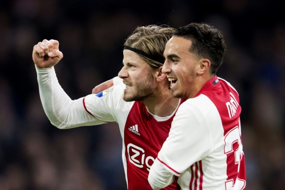 Ajax midfielder Abdelhak Nouri (R) with Lasse Schone in a match in April 2017, was considered one of Dutch football\'s brightest talents