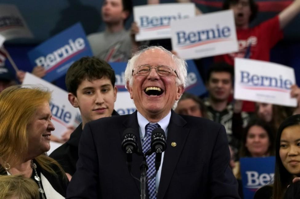Le sénateur du Vermont Bernie Sanders lors d\'un meeting à Manchester, dans le New Hampshire, le 11 février