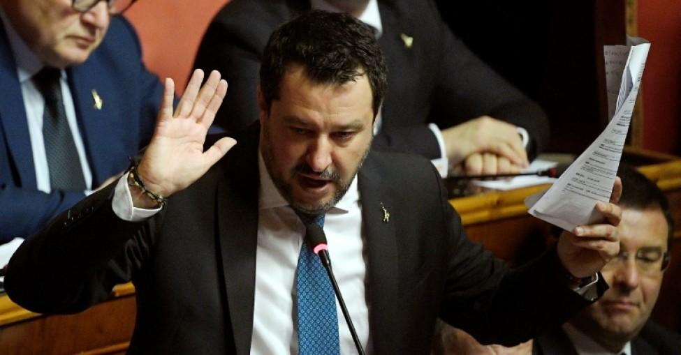 Le chef de l\'extrème droite italien Matteo Salvini s\'exprime lors d\'une allocution au Sénat le 12 février 2020