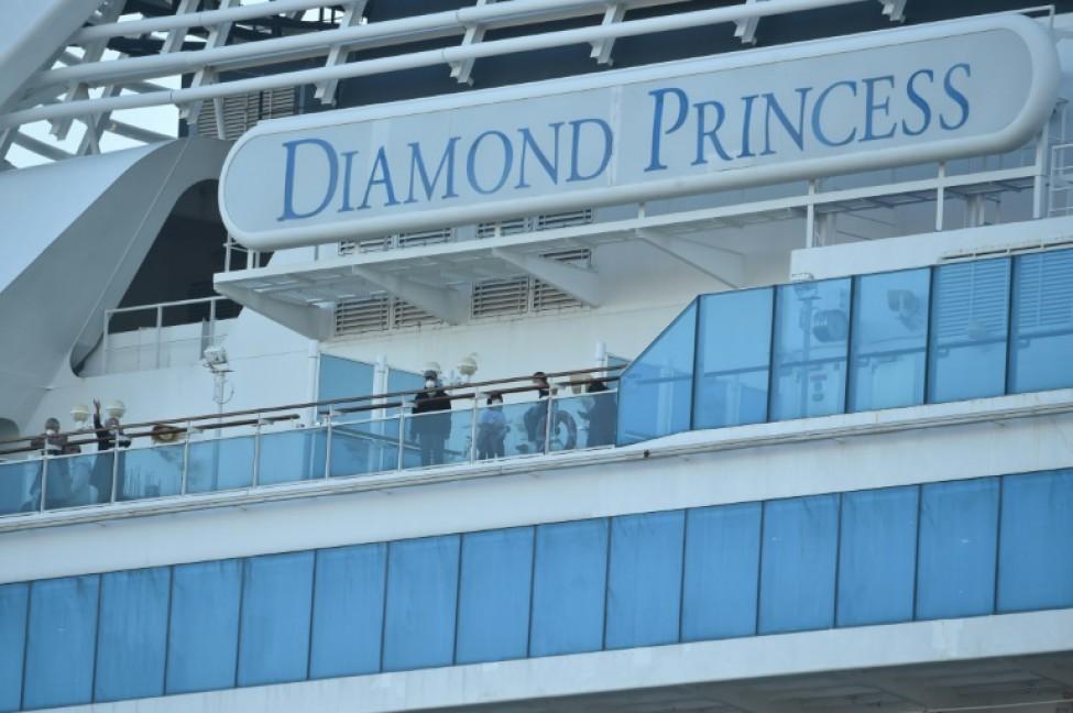 Des passagers sur le pont du Diamond Princess, le 13 février 2020