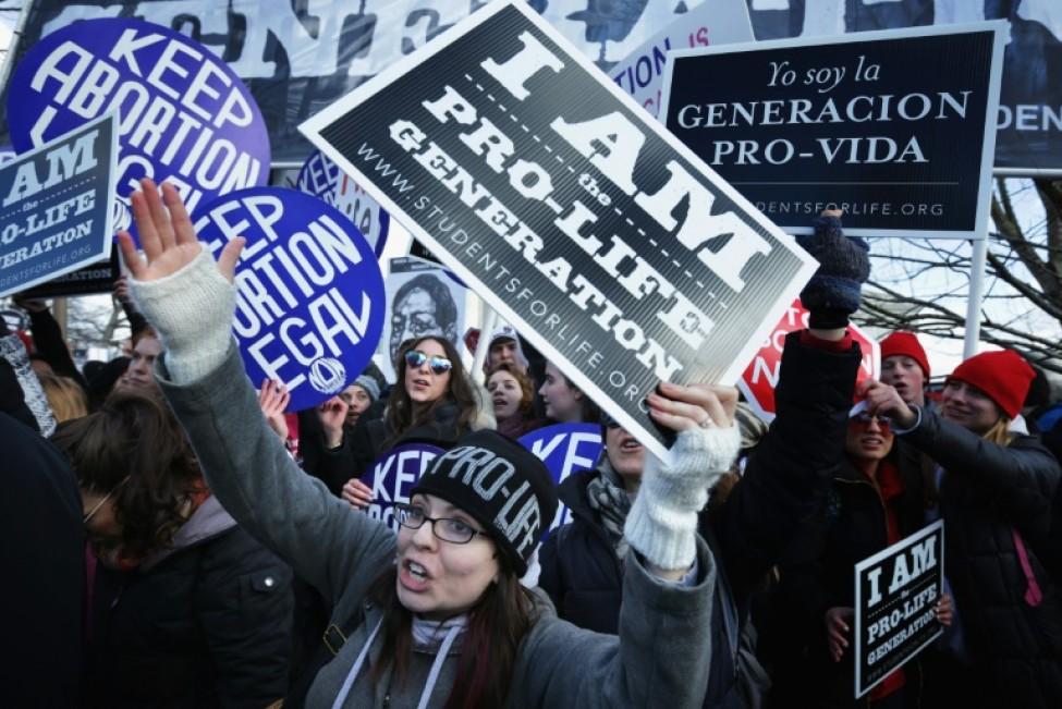 Des militants anti-avortements tentent de perturber une marche des défenseurs du droit à avorter à Washington le 22 janvier 2019