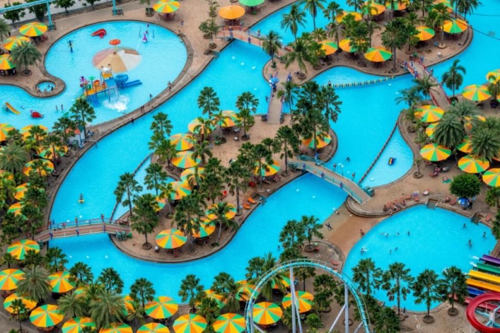 Le parc aquatique de Pattaya déserté par les touristes, le 12 février 2020 en Thaïlande