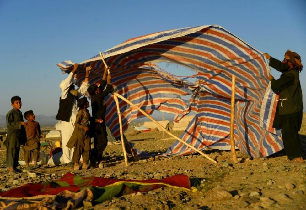 Un abri de fortune dans un camp de déplacés en Afghanistan le 5 août 2018