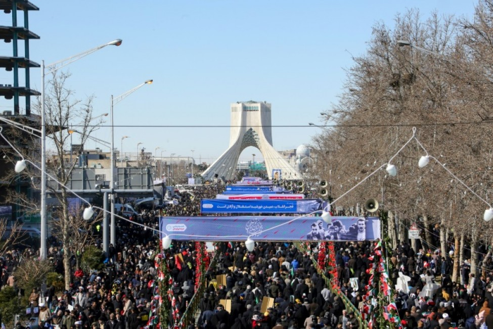 Des Iraniens assistent à à un rassemblement marquant le 41e anniversaire de l\'instauration de la République islamique sur la place Azadi à Téhéran le 11 Février 2020