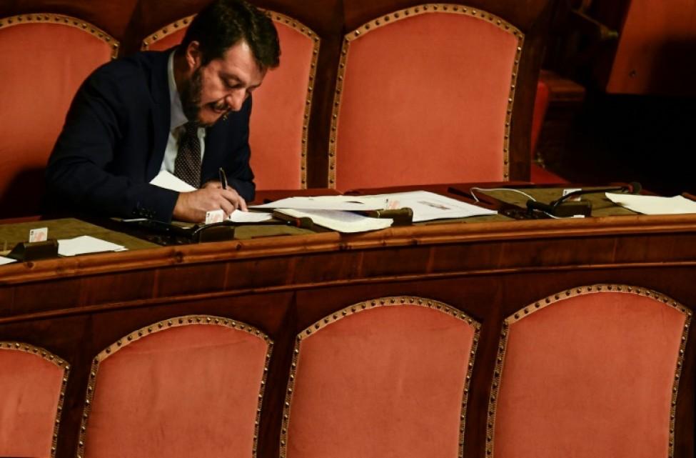 Matteo Salvini avant un discours au Sénat à Rome, le 10 septembre 2019.