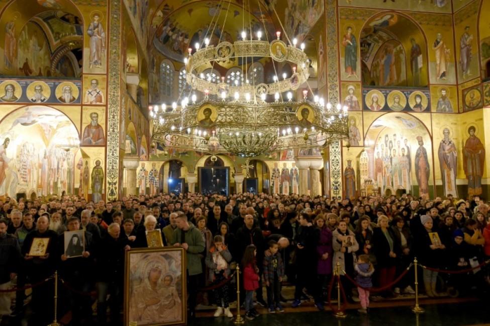 Messe dans une église de l\'Eglise orthodoxe serbe le 9 février 2020, dans le cadre d\'une manifestation contre la loi de décembre 2019