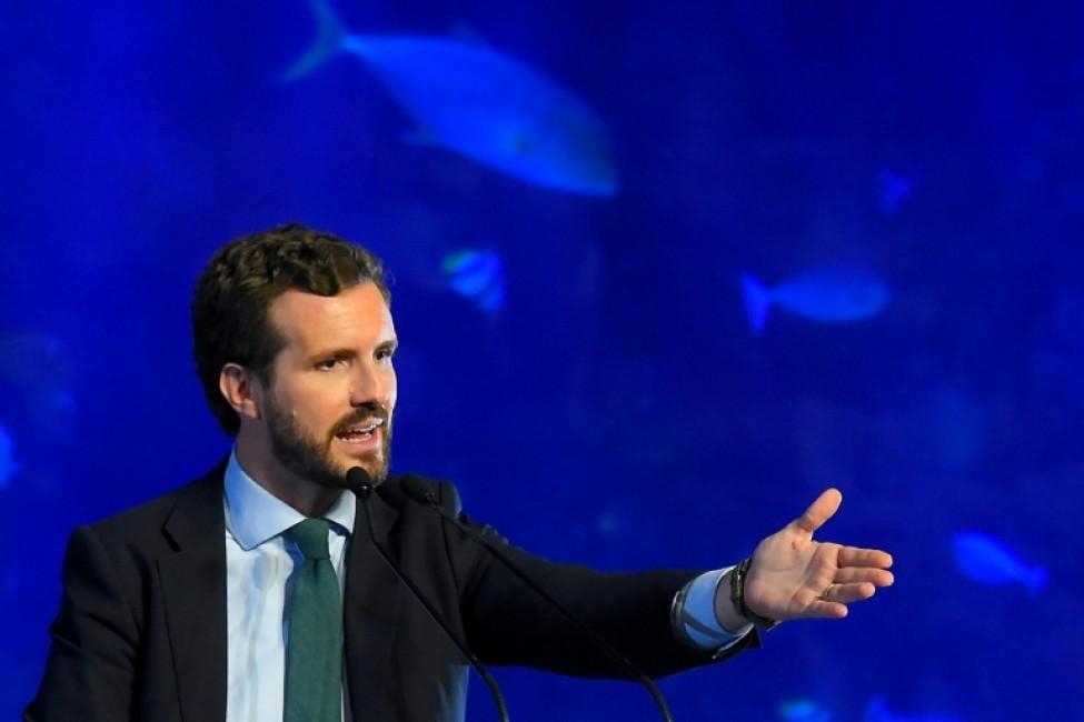 Le dirigeant du Parti populaire (PP) espagnol Pablo Casado lors d\'un meeting électoral à Valence le 7 novembre 2019