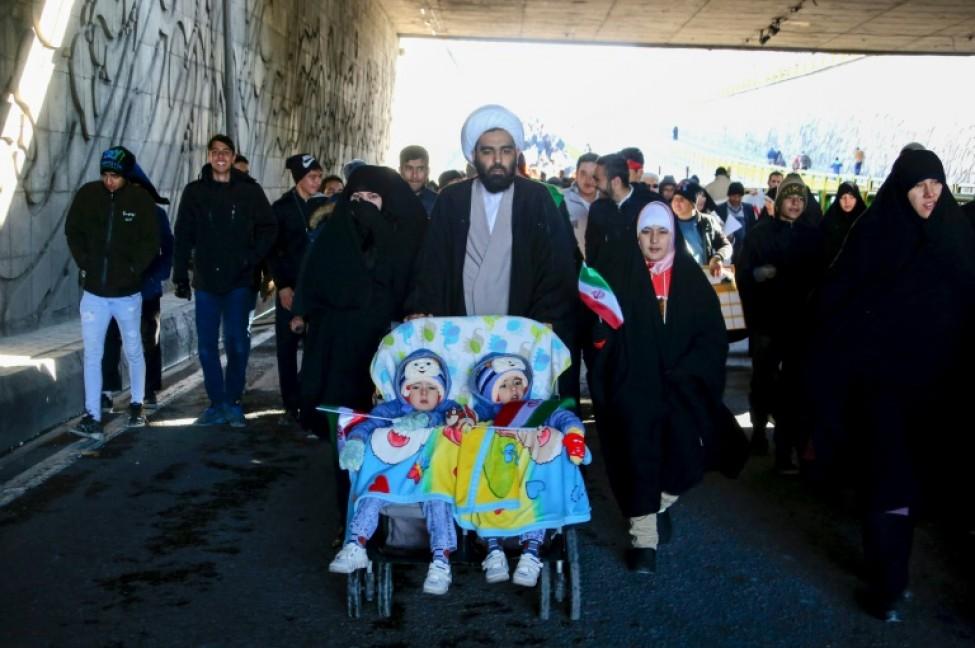 Des Iraniens rassemblés sur la place Azadi à Téhéran pour l\'anniversaire de la Révolution islamique, le 11 février 2020