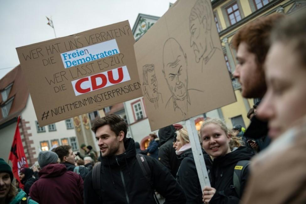 Manifestation contre le parti d\'extrême droite AfD, le 6 janvier 2020 à Erfurt, en ex-RDA