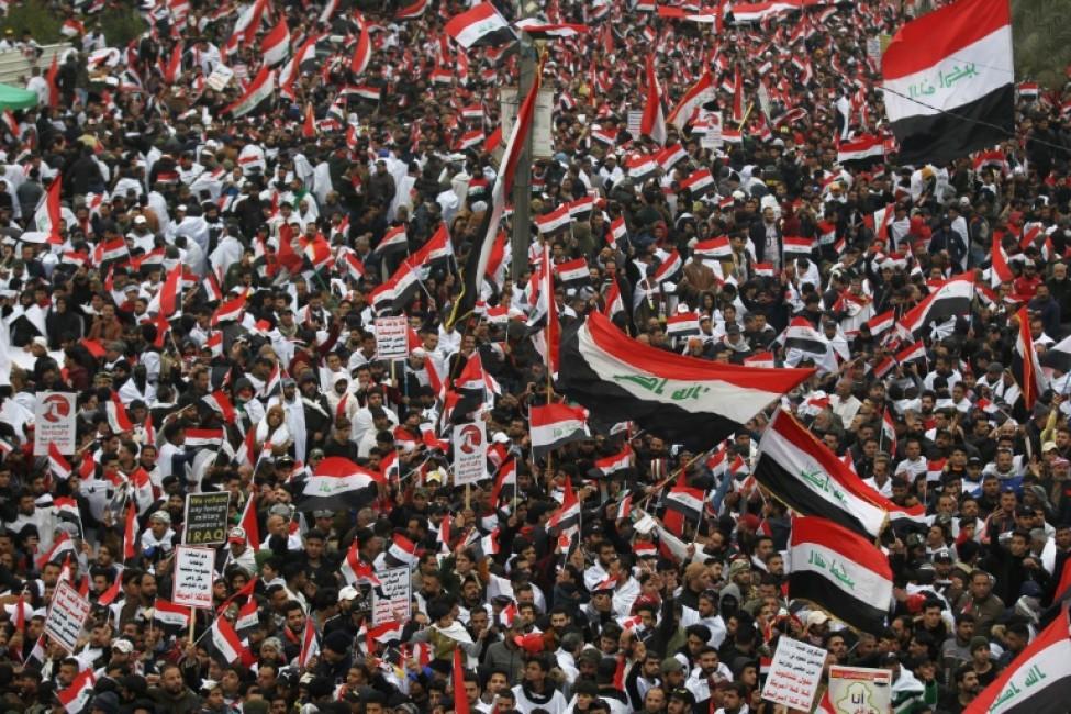 Manifestation à Bagdad contre la présence de troupes américaines en Irak le 24 janvier 2020