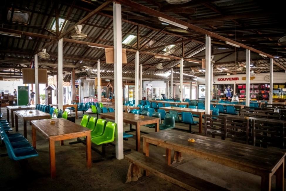 Un restaurant vide au camp d\'éléphang Chang Siam Park, le 12 février 2020 à Pattaya, en Thaïlande