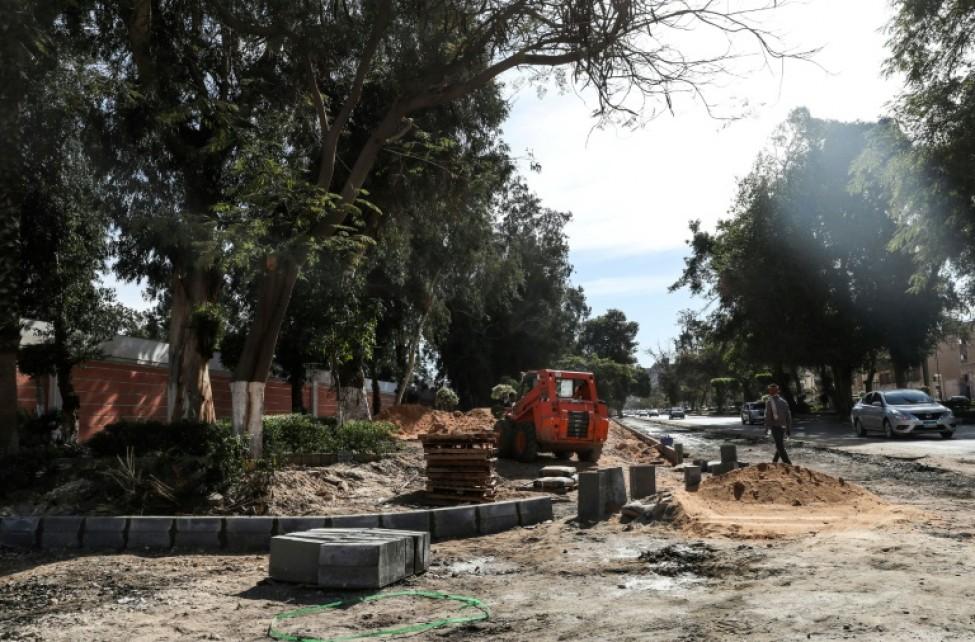 Photo des travaux dans le quartier de Heliopolis, en banlieue du Caire, la capitale égyptienne, le 27 janvier 2020