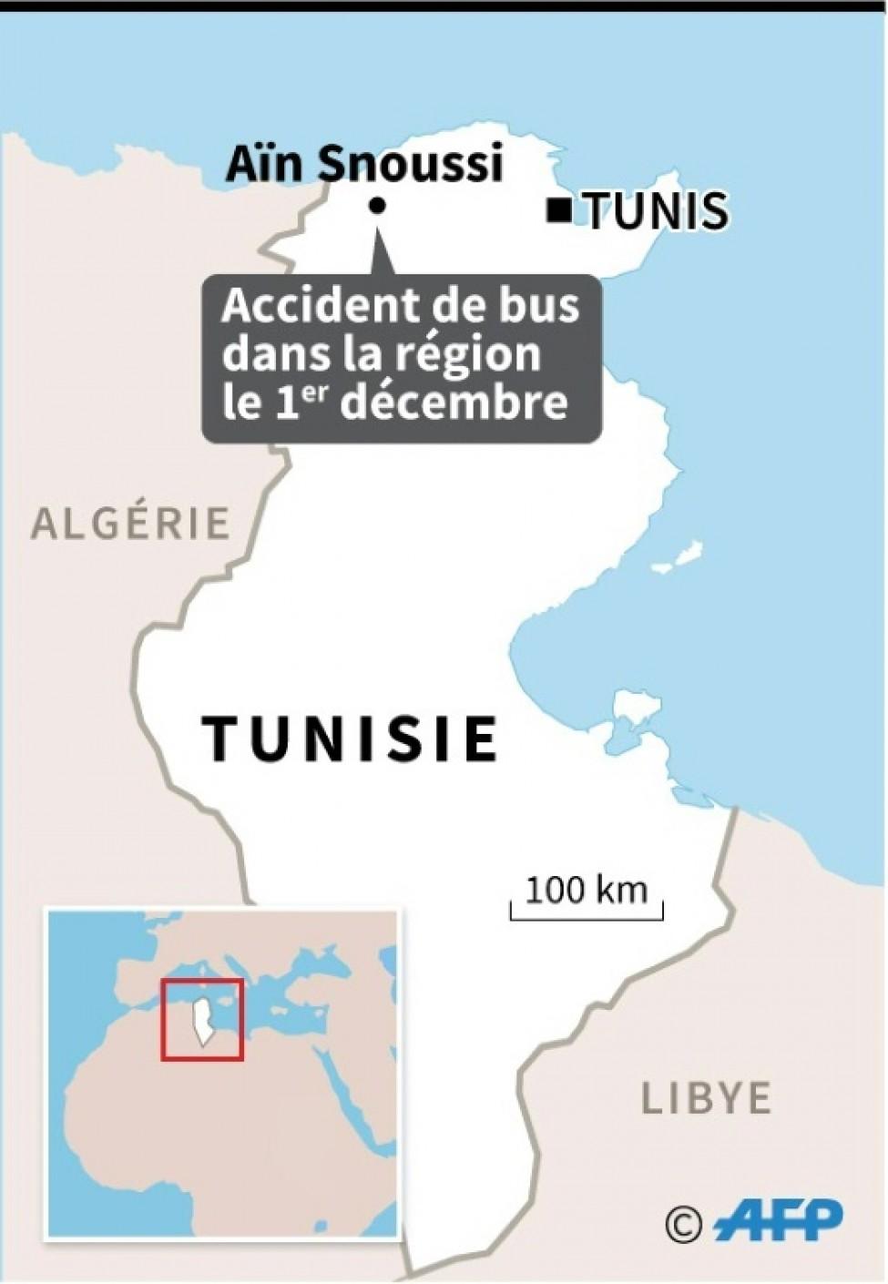 Carte de Tunisie localisant la région Aïn Snoussi
